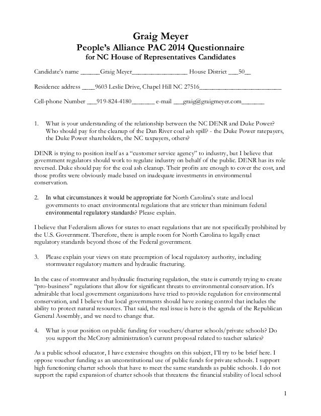 1 Graig Meyer People's Alliance PAC 2014 Questionnaire for NC House of Representatives Candidates Candidate's name ______G...
