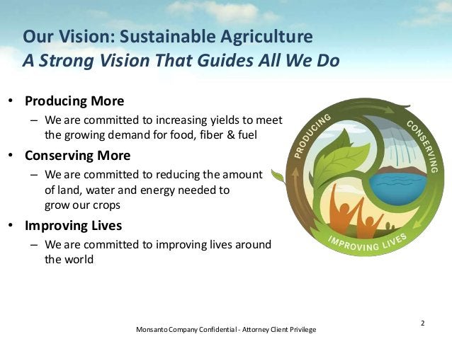 Monsanto Company Confidential - Attorney Client Privilege Our Vision: Sustainable Agriculture A Strong Vision That Guides ...