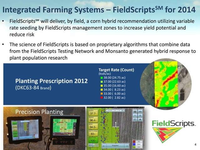 Monsanto Company Confidential - Attorney Client Privilege 4 Planting Prescription 2012 (DKC63-84 Brand) Target Rate (Count...