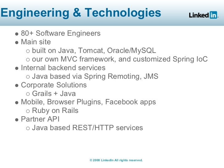 Engineering & Technologies    80+ Software Engineers    Main site        built on Java, Tomcat, Oracle/MySQL        our ow...