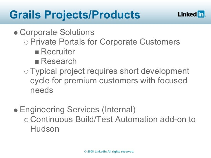 Grails Projects/Products  Corporate Solutions    Private Portals for Corporate Customers       Recruiter       Research   ...
