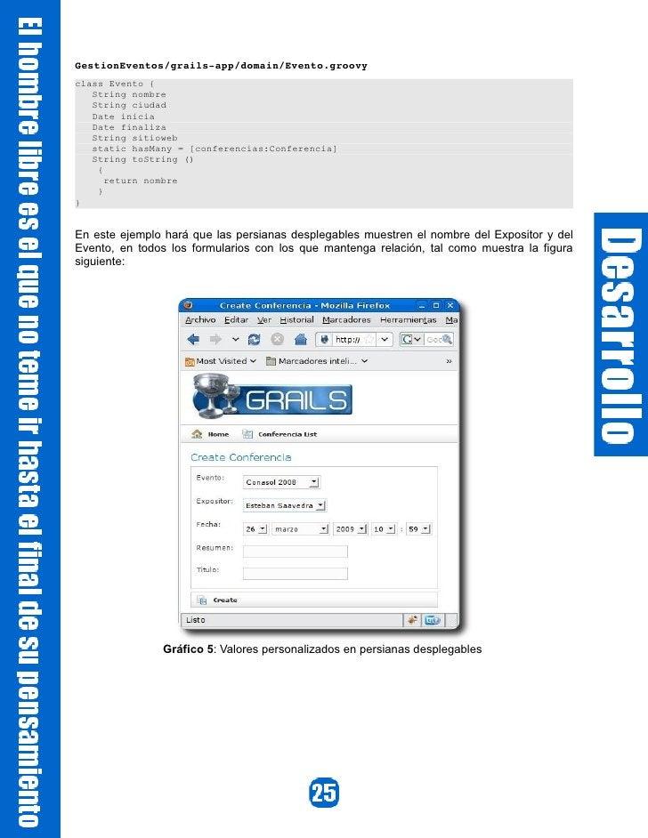 GestionEventos/grailsapp/domain/Evento.groovy class Evento {    String nombre    String ciudad    Date inicia    Date fin...
