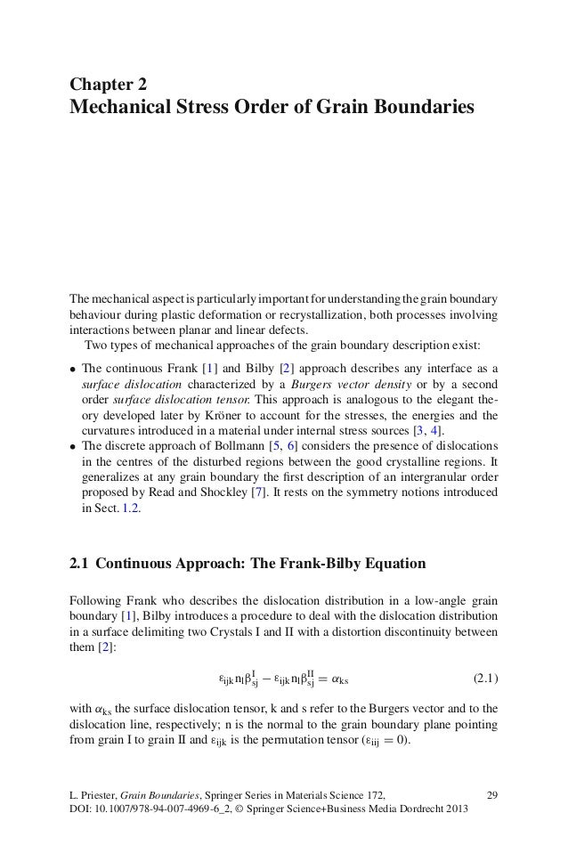 Chapter 2 Mechanical Stress Order of Grain Boundaries The mechanical aspect is particularly important for understanding th...