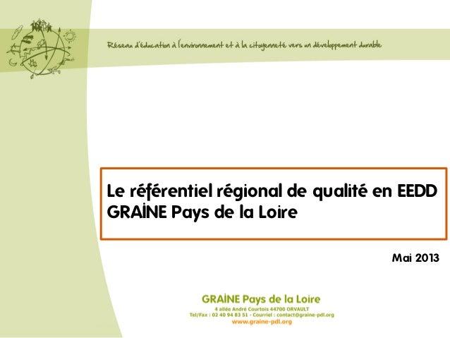 Le référentiel régional de qualité en EEDD GRAINE Pays de la Loire Mai 2013