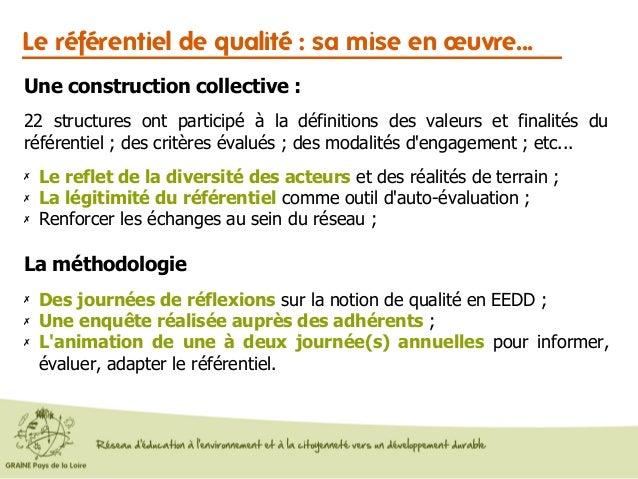 Le référentiel de qualité : sa mise en œuvre... La méthodologie ✗ Des journées de réflexions sur la notion de qualité en E...