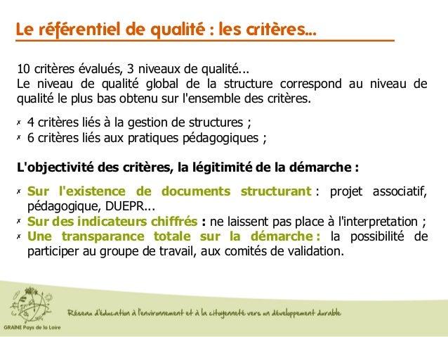 Le référentiel de qualité : les critères... 10 critères évalués, 3 niveaux de qualité... Le niveau de qualité global de la...