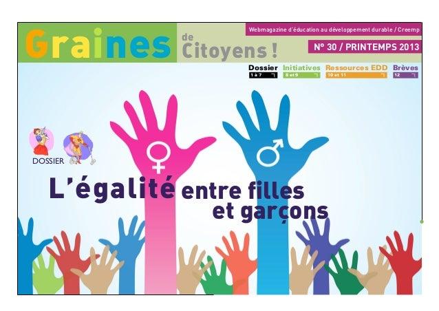 Webmagazine d'éducation au développement durable / Creemp L'égalité entre filles et garçons Citoyens! de Graines Dossier ...