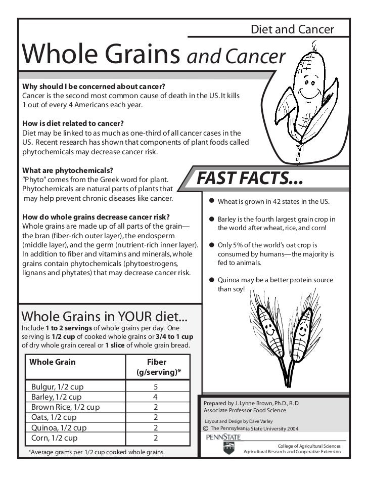 Diet and CancerWhole Grains and CancerWhy should I be concerned about cancer?Cancer is the second most common cause of dea...