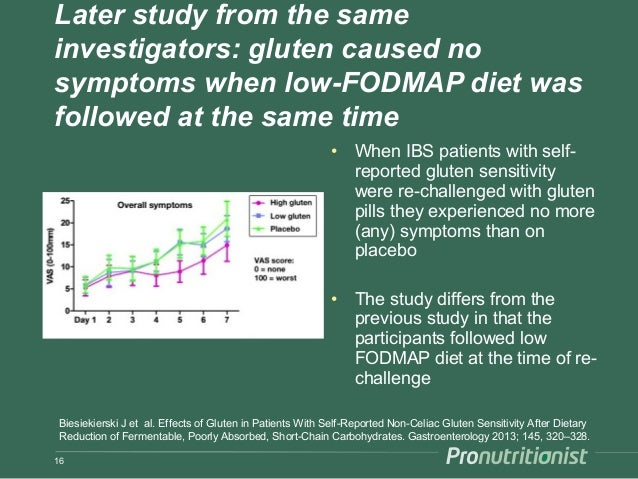 Later study from the same investigators: gluten caused no symptoms when low-FODMAP diet was followed at the same time • Wh...