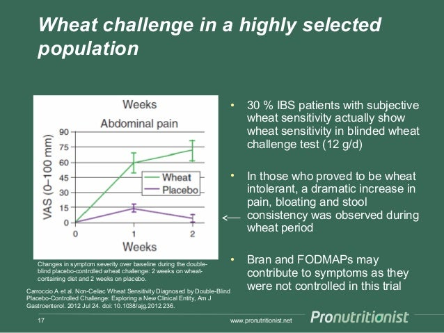 Wheat challenge in a highly selected population • 30 % IBS patients with subjective wheat sensitivity actually show wheat ...