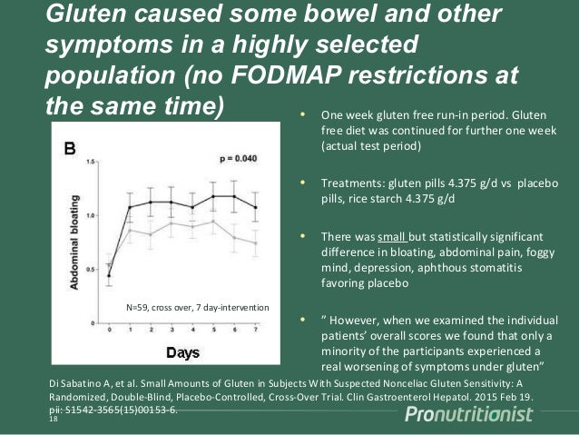 Gluten caused some bowel and other symptoms in a highly selected population (no FODMAP restrictions at the same time) • On...