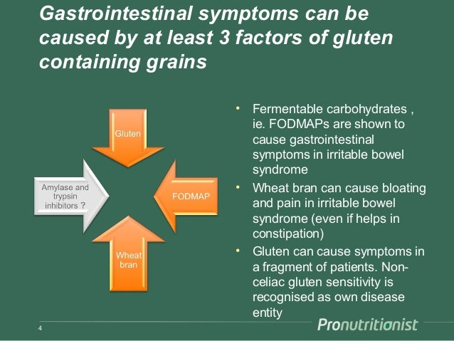 Gastrointestinal symptoms can be caused by at least 3 factors of gluten containing grains • Fermentable carbohydrates , ie...