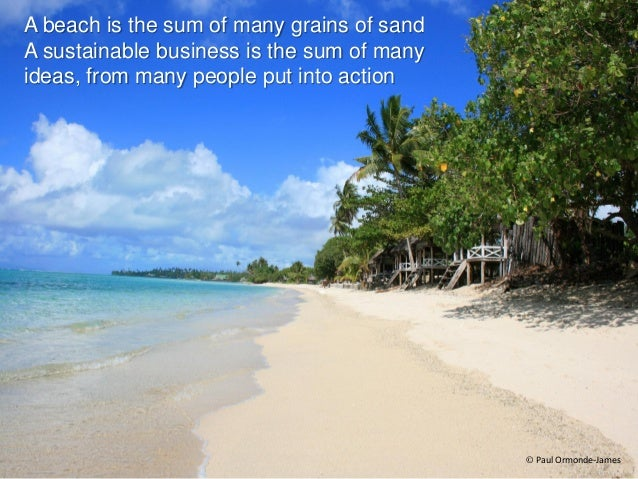 A beach is the sum of many grains of sand A sustainable business is the sum of many ideas, from many people put into actio...