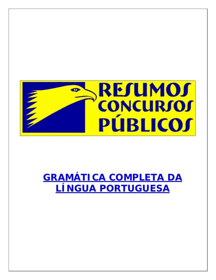 GRAMÁTICA COMPLETA DA  LÍNGUA PORTUGUESA