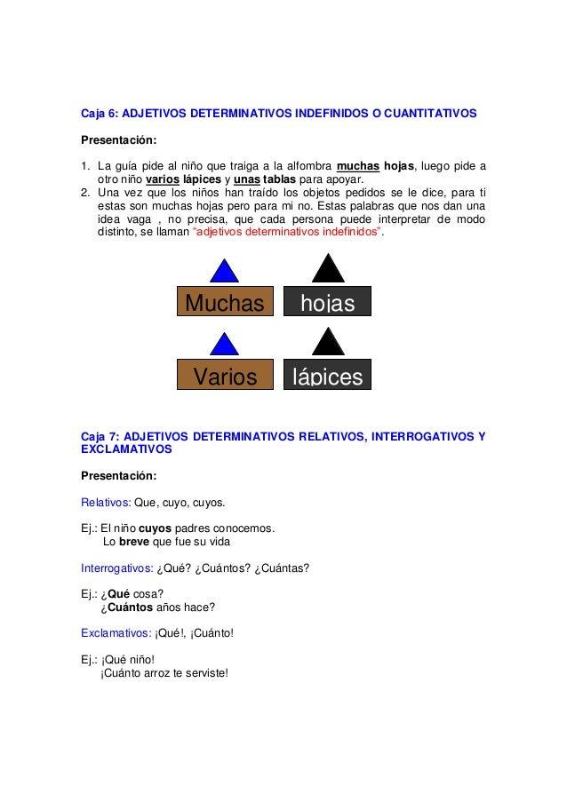 Caja 8: ADJETIVOS DETERMINATIVOS NUMERALES Material: Tarjetas color marrón con los adjetivos numerales y tarjetas color ne...