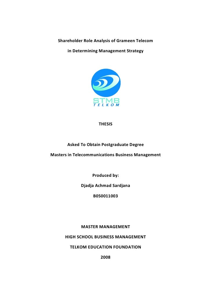 Shareholder Role Analysis of Grameen Telecom         in Determining Management Strategy                          THESIS   ...