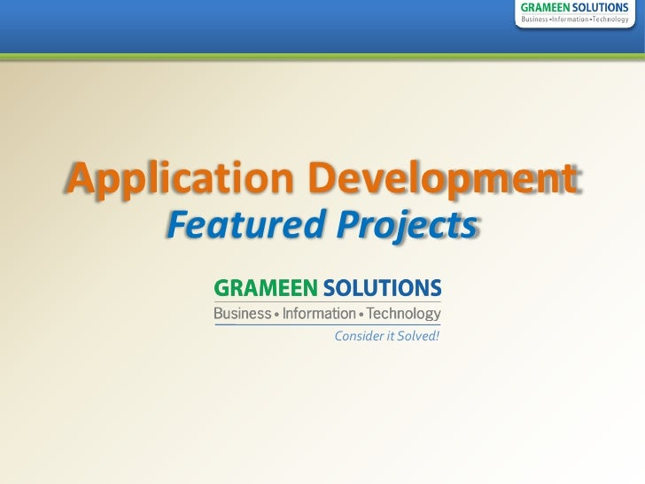 Application Development     Featured Projects               Consider it Solved!