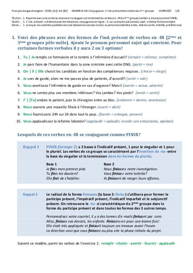 L Indicatif Present Des Verbes Du 2eme Groupe Verbes Reguliers En I