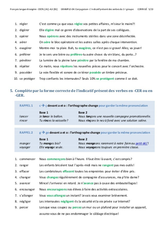 L Indicatif Present Des Verbes Du 1er Groupe Exercices Corrige