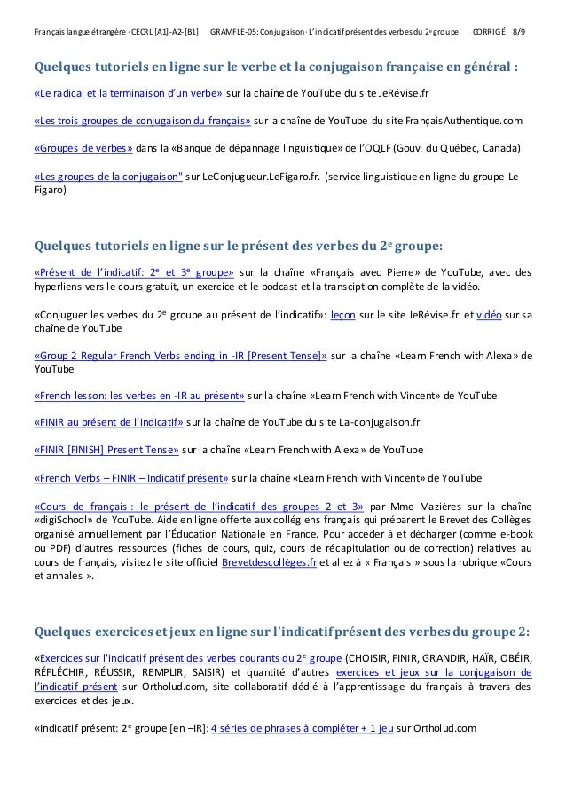 L Indicatif Present Des Verbes Du 2e Groupe Exercices Corrige