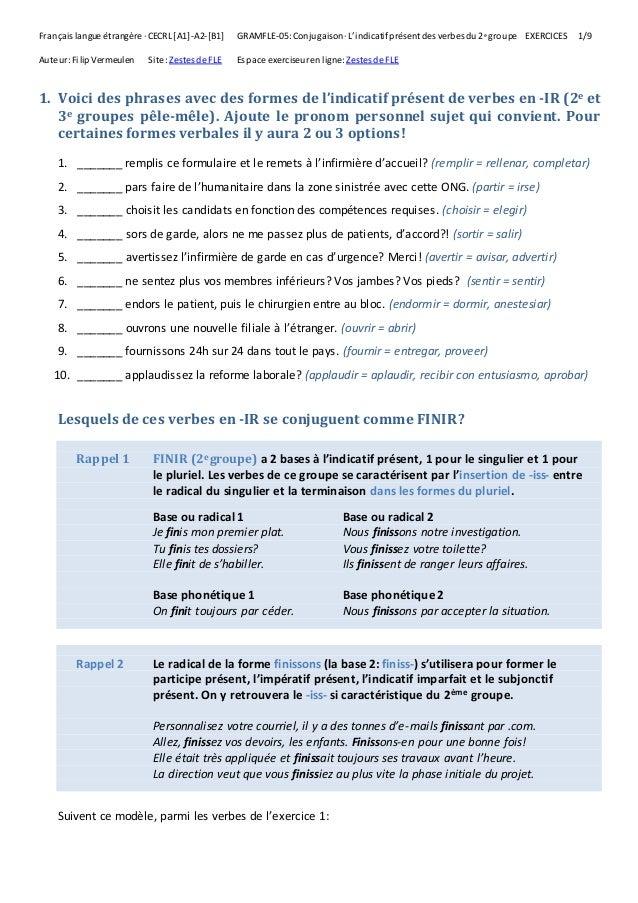 L Indicatif Present Des Verbes Du 2e Groupe Exercices