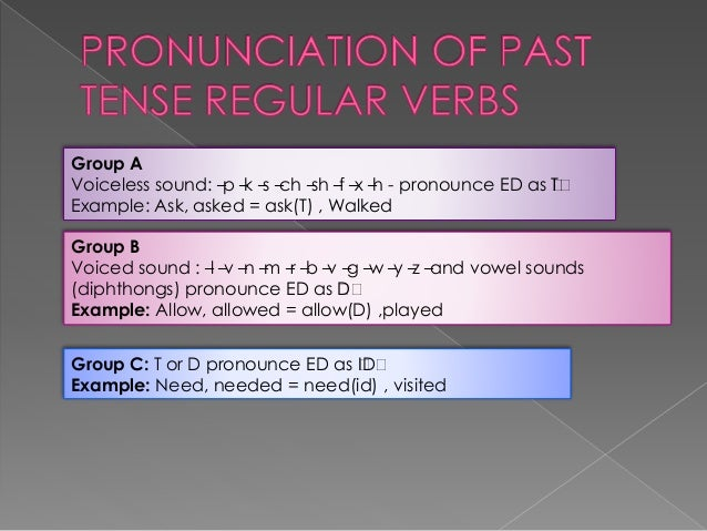 """Group A Voiceless sound: –p –k –s –ch –sh –f –x –h - pronounce ED as """"T"""" Example: Ask, asked = ask(T) , Walked Group B Voi..."""