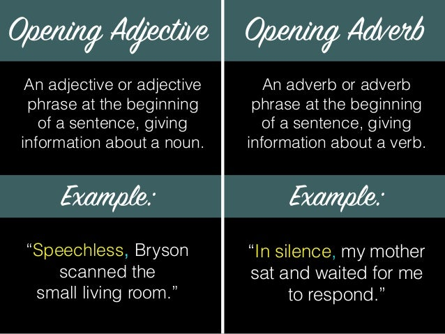 Delayed Adjectives And Adverbs
