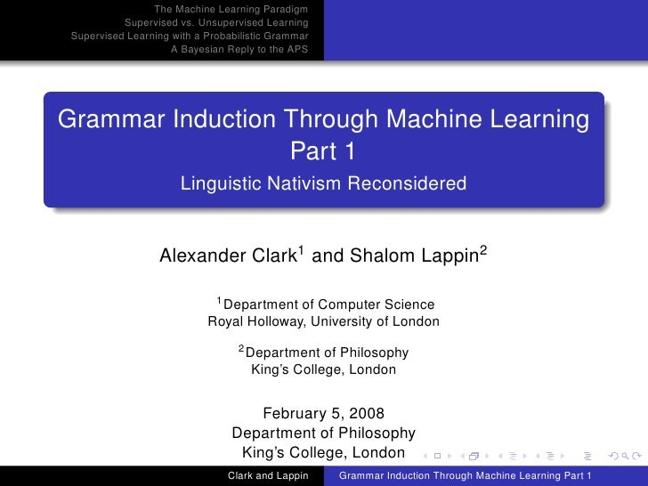 The Machine Learning Paradigm            Supervised vs. Unsupervised Learning  Supervised Learning with a Probabilistic Gr...