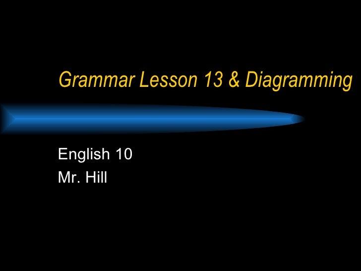 Grammar Lesson 13 & Diagramming English 10 Mr. Hill
