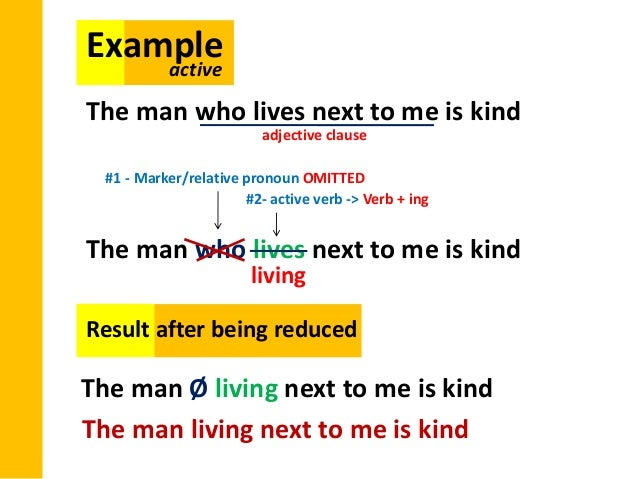 reduced relative clauses Page 3 of 4 participle phrases (as reduced relative clauses) adjective(s) + main clause sometimes, a phrase containing one or more adjectives can function like a.