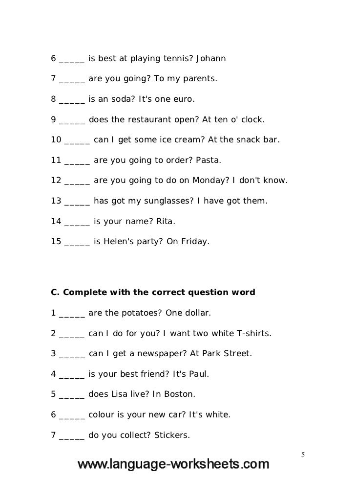 Grammar worksheets