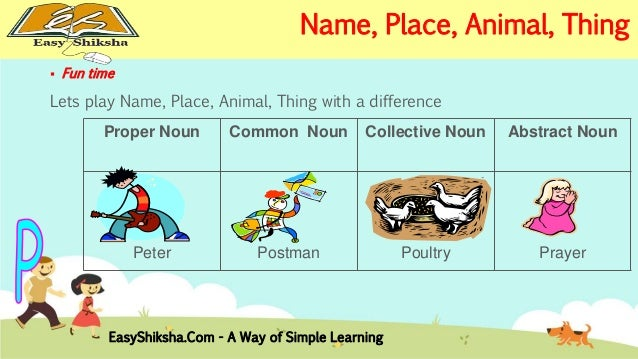 Animal Place And Thing I Fill In The Es Chart With Proper Nouns That They Recognize Like My Name One Of Dog S So On