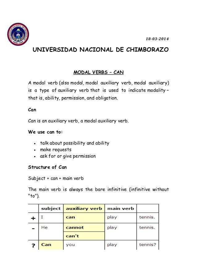 18-03-2014 UNIVERSIDAD NACIONAL DE CHIMBORAZO MODAL VERBS – CAN A modal verb (also modal, modal auxiliary verb, modal auxi...