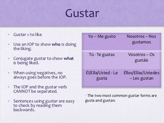 PPT - Verbs like gustar PowerPoint Presentation, free ... |Gustar Forms