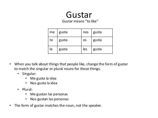 Language materials / Funny-Spanish.com |Gustar Forms