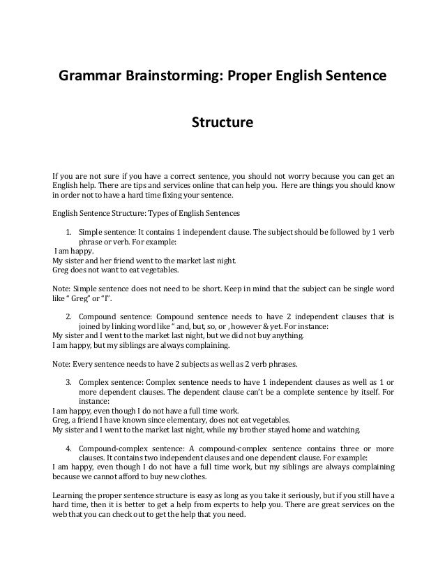 A complete guide on proper english sentence structure grammar brainstorming proper english sentence structure if you are not sure if you have a thecheapjerseys Images
