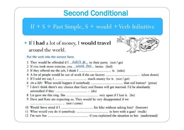 Second Conditional  If + S + Past Simple, S + would + Verb Infinitive   If I had a lot of money, I would travel  around t...