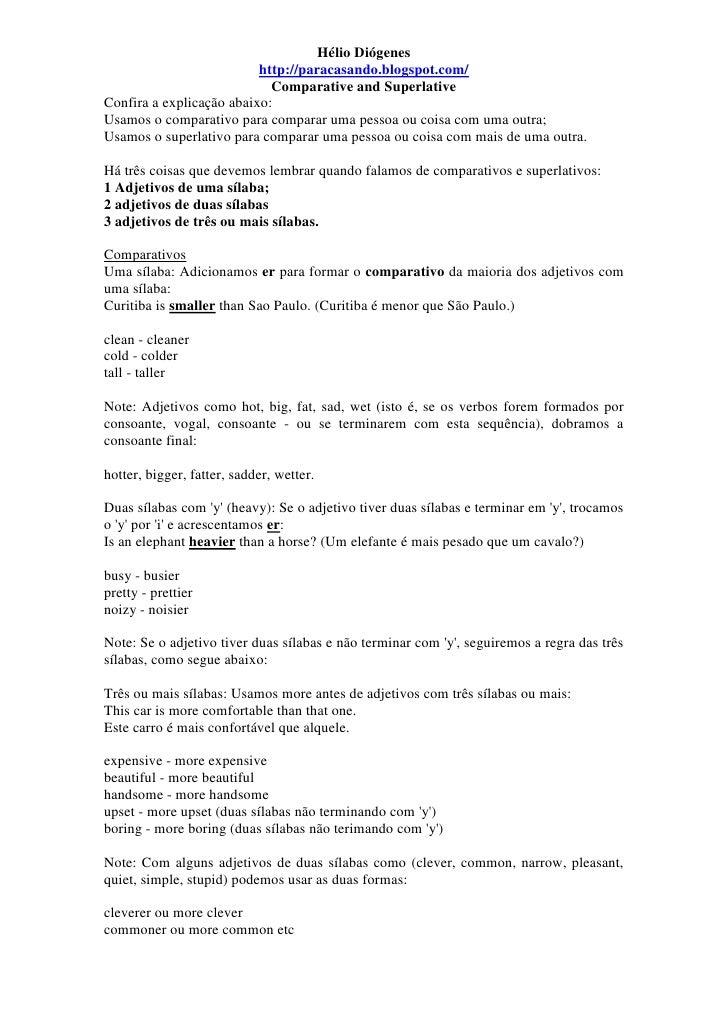 Hélio Diógenes                          http://paracasando.blogspot.com/                            Comparative and Superl...