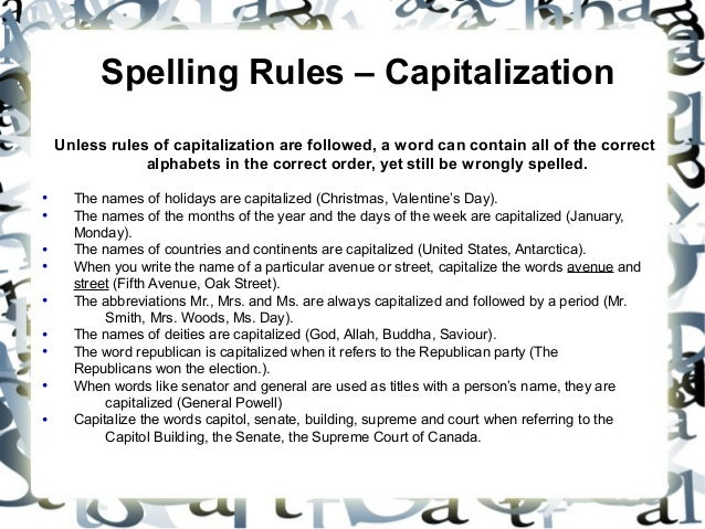 24 spelling rules capitalization