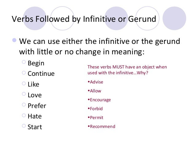 Verbs Followed by Infinitive or Gerund  We can use either the infinitive or the gerund  with little or no change in meani...