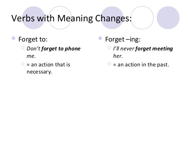 Verbs with Meaning Changes:  Forget to:     Don't forget to phone me. = an action that is necessary.   Forget –ing:  ...