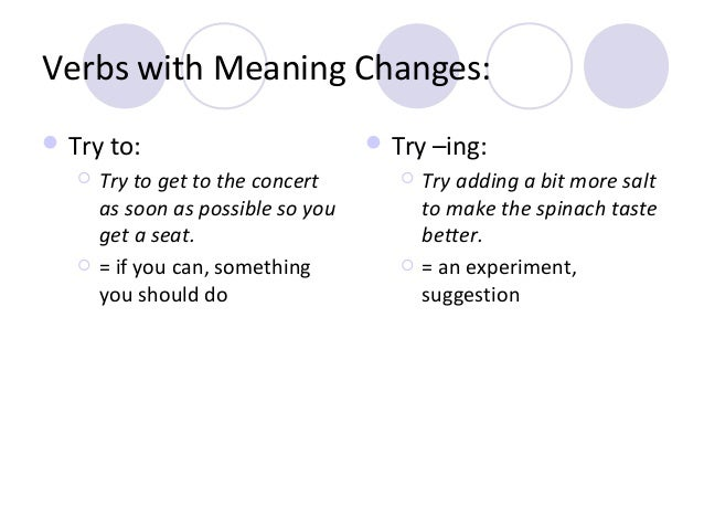 Verbs with Meaning Changes:  Try to:     Try to get to the concert as soon as possible so you get a seat. = if you can,...