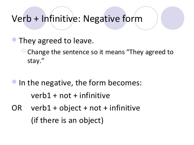 """Verb + Infinitive: Negative form  They agreed to leave.  Change  stay.""""  the sentence so it means """"They agreed to   In ..."""
