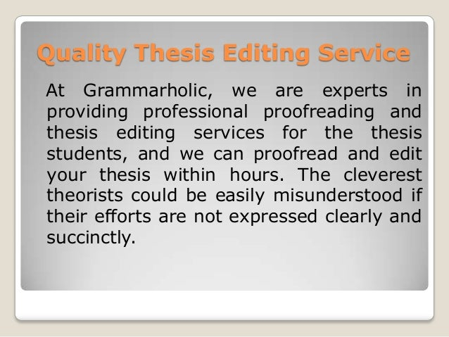 Professional Thesis Editing - RAPID and Affordable!