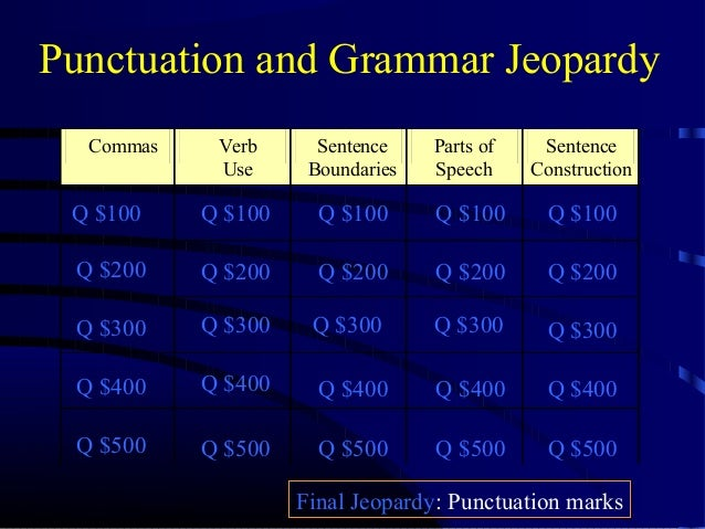 Punctuation and Grammar Jeopardy Commas  Verb Use  Sentence Boundaries  Parts of Speech  Sentence Construction  Q $100  Q ...