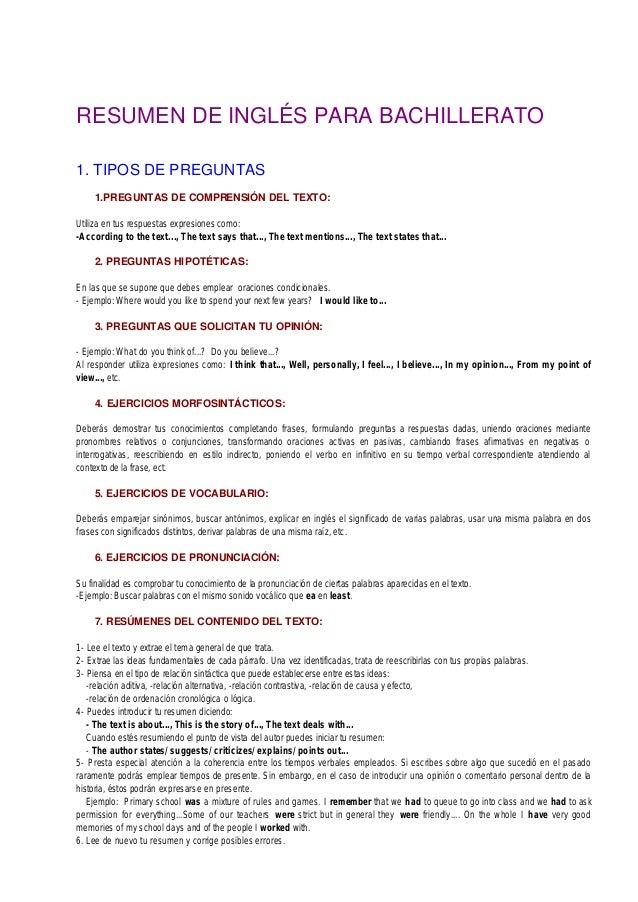 Grammar Para Bachillerato Inglés Bueno