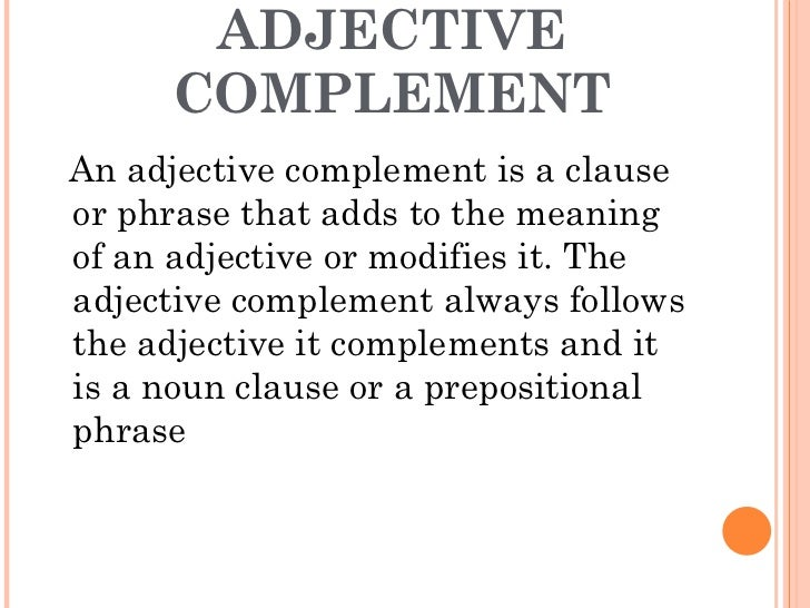 adjective complement noun clause
