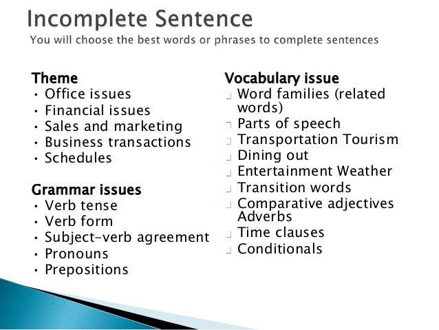 Grammar preparation for toeic test noun verb