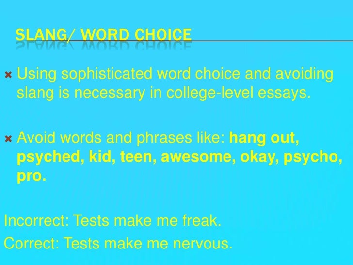 Conjoining words for essays