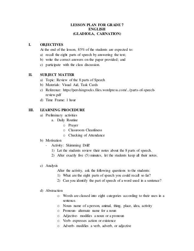 Grammar review lesson plan